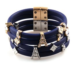 Wholesale Real Gold Clasps Wholesale - Wholesale-Free ! fashion Magnet clasp CZ crystal efil Tower charm bracelet white flower expoy Dark Bule silicon bracelets real gold plate