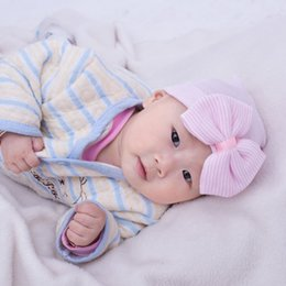 Wholesale Kint Cap - SALE! Cute Newborn Baby Infant Girl Toddler Comfy Striped Bowknot Hospital Cap warm Beanie Hat kint cap Baby Girl First Hairbow 20pcs