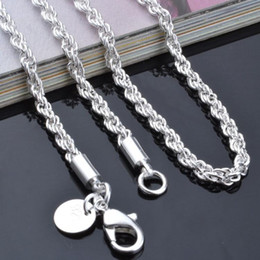 Wholesale Sterling Silver Rope Chain 3mm - chain necklace jewelry 16-24inches NEW Arrive silver jewelry Free shipping 925 Sterling Silver pretty cute fashion charm 3MM rope