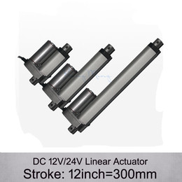 Wholesale Linear Actuator 24v Dc Motor - Free Shipping! DC 12V 24V 12inch 300mm electric linear actuator , 1000N 100kgs load 10mm s speed linear actuators without mounting brackets