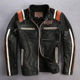 Jacken indien online-Schwarze AVIREXFLY-Echtlederjacken India-Totenkopf-Stickerei Motorradjacke THE ORANGAL AMERICAN CUSTOMS MOTOR SPIRIT
