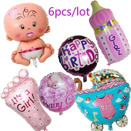 Wholesale Wholesale Ballons - Wholesale-Globos Baby Shower 6pcs lot Air Balloons 1st Birthday Party Decoration Foil Ballons Baby Girl & Boy Happy Birthday Helium