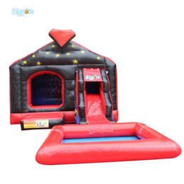 Wholesale Pool Inflatable Slides - Durable Pvc Tarpaulin Outdoor Jeux Gonflables Inflatable Tobogan Bouncy Castle With Slide And Pool