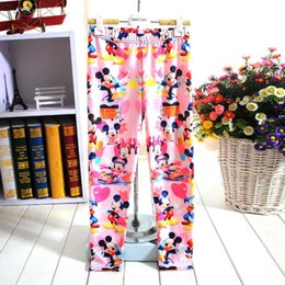 Wholesale Tight Pants For Kids - Kids leggings comfortable child clothing pants Mickey white snow prince Stitch baby girl cartoon print leggings for 4-12 years
