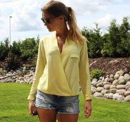 Wholesale Dipped Chiffon - Blusas Femininas 2016 Fashion Woman BlousesFor Summer Women Clothing Solid Elegant Classic Long Sleeve Front Cross Dipped Hem Blouse Tops