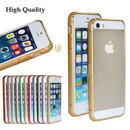 Wholesale Double Color Metal Aluminum Case - Double Color Golden 0.7 mm Ultra Thin Slim Aluminum Alloy Metal Bumper Hard Case For iPhone 5 5S Luxury Design Frame 10pcs lot