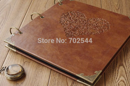 Wholesale Handmade Albums - NEW Retro photo album High-grade leather Hot Stamping diy handmade gift album Large size Pasting Types