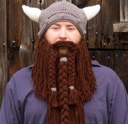Wholesale Pirate Skull Mask - Handmade Winter Wool Mustache Braid Caps Pirate Face Mask Wig Beard Beanies Super Big Viking Horn Party Gift Funny Knitted Hats