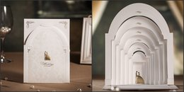 Wholesale Personalized Blank Cards - New free shipping laser cut 2015 wedding invations cards love in castle pear white blank inside paper Personalized & Customized flat card