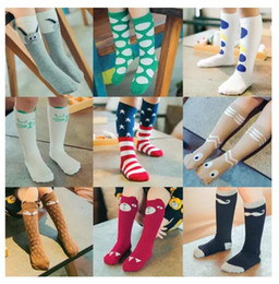 Wholesale Baby Kids Socks - Unisex cartoon Animal leg warmers 2017 Fashion baby girls & boys knee high Totoro Panda Fox socks kids cute Striped Knee Pad sock