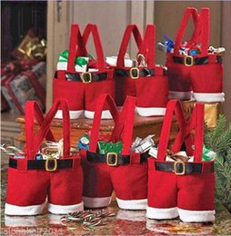 Wholesale Hair Fillers - Fantastic Father Merry Christmas Santas Pants Gift Bag Small Sack Stocking Filler Decorations Ornament