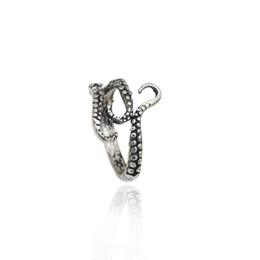 Wholesale vintage octopus - Punk Vintage Stainless Steel Titanium Steel Octopus Ring Octopus Tentacles Rings For Men Resizable Adjustable Anel Masculino