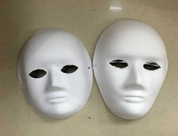 Wholesale Back Covers For Wedding - 2016 new diy Hand-painted Pulp Plaster Covered Paper Mache Blank Mask Female Male Mask with Bungee cord 30pcs Lot