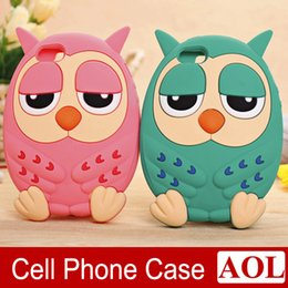 Wholesale Galaxy 4s Case Cover Cute - 3D Cute Cartoon Successor Stay Owl Silicone Rubber Case for iPhone 6 6s Plus 5G 5S 4 4s samsung galaxy note3 phone Covers
