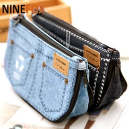 Wholesale Jeans Bags Purses - Kawaii Novelty Short Jeans 21CM Canvas Kids School Pen Pencil clutch BAG Case Pouch Cosmetic Coin Purse hand bag Wallet