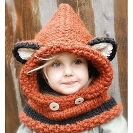 Wholesale Children Stingy Brim Hats - Boys Girls Cute Fox Sscarf Crochet Cap Collar Wool Knitted Cap Baby Infant Kids Hats