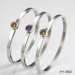 Wholesale Channel Choose - 4 colors choose Crystal Titanium steel Bracelets Bangles Color Stone Change Bracelet Korean version charms bracelets Brazaletes Pulseras