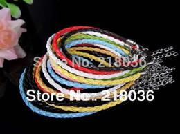 Wholesale Good Luck Wholesale - 100pcs Silver Clasp Lobster Clasp Leather Chain Charm Leather Good Luck Bracelet &Bangle Jewelry For Women beads Dress Brand 20cm B678