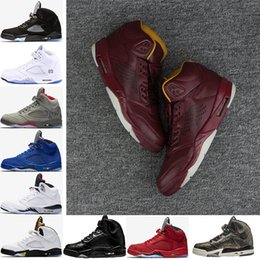 Wholesale Camo Cheap - cheap 5 5s men Basketball Shoes Premium Bordeaux red Blue Suede Heiress Camo Grey OG Black Metallic Gold white Grapes Cement Sports Sneaker