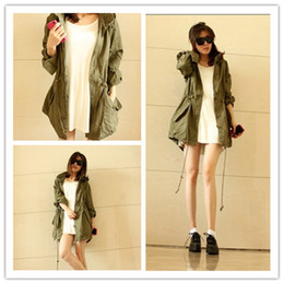 Wholesale Green Woman Trench Coat - Women Jacket HOODED Winter Coat New Womens Hoodie Drawstring Army Green Military Trench Parka Jacket Coat Hot Lady Adjustable and Slim Coat