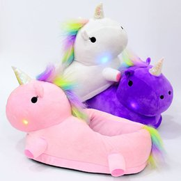 Wholesale Plush White Unicorn - 3 Colors LED Unicorn Plush Slippers Unicorn Half Heel Warm Household Winter Slippers for Unisex Big Children Shoes