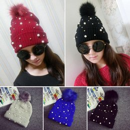 Wholesale Rivet Hats - Wholesale-Pearl Rivet New High Grade Rabbit Fur Ball Decorate Hats For Women Knitted Caps For Winter