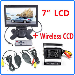 "Wholesale 18 Led Reversing Camera - Wireless Rearview Car Kit 7 "" LCD Auto Truck Monitor With 18 LED CCD IR Night Vision Waterproof Reversing Backup Camera System"