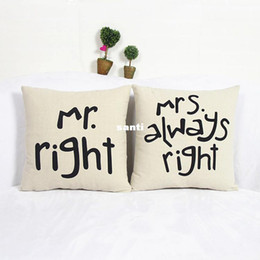 Wholesale Mrs Right - Popular Funny Mr Right Mrs Al ways Right Print Blend Cotton Linen Pillow Case Bed Sofa Cushion Cover Home Accessories
