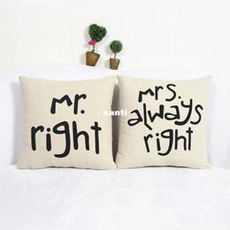 Cobrir engraçado do coxim on-line-Popular Engraçado Mr Right Mrs Al maneiras Direito Imprimir Blend Cotton Linen Fronha Bed Sofa Capa de Almofada Acessórios Para Casa