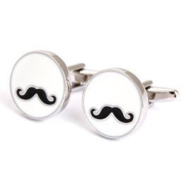 Wholesale Mustache Silver - Rhodium Plated Mens Stylish Cufflinks Mustache Cufflinks