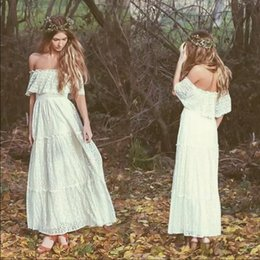 Wholesale Bridal Gowns Vintage Ankle Length - 2018 Bohemian Ankle Length Ivory Full Lace Wedding Dresses Off Shoulders A Line Beach Garden Cheap Bridal Gowns Vintage Country Style