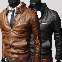 Wholesale Leather Long Jacket Brown Men - Hot Sale! Winter Jackets For Men Outdoor PU Brown Black Fall Winter Spring long Motorcycle Soft Shell leather sleeve denim Mens Jackets