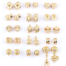 Wholesale chamilia bracelet diy - Mix Alloy Big Hole Beads 18K Gold Plated Chamilia DIY Spacer Troll Chunky Czech Bead Charm Fit For Pandora Bracelet Charms