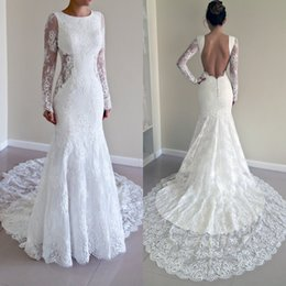 Wholesale High Couture Wedding Dresses - 2016 Vintage Sexy Couture Wedding Dress Lace Mermaid Backless Illusion Long Sleeves Chapel Train Sheer Waist Jewel Neck High Quality