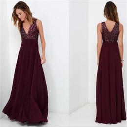 Wholesale Elegant Dress Top - 2018 A Line Long Burgundy Sequins Top Simple Chiffon Bridesmaid Dresses Floor Length Elegant Cheap Prom Dress Formal Wedding Party Gowns
