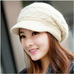 Wholesale Winter Ladies Tops - Winter hats han edition tide female cute knitted hat Rabbit fur cap qiu dong the day ladies fashion hat