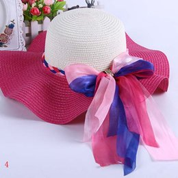 Wholesale Lace Sun Hat Girls - Fashion Summer Women Ladies Large Straw Lace Hat Big Bow Beach Sun Caps Wide Brim Visor Derby Hats Of Girls Hiking Wide Brim Hats ZJ-M02