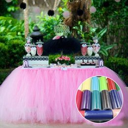 Wholesale Tulle Chair Bow - Chair Covers Table cloth Chair Sash wedding Decorations Tutu Sashes Tulle Skirt cover table Tutu Colors Tulle Wedding Desk Covers Bows