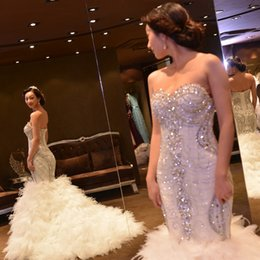 Wholesale Mermaid Feather Sweetheart Wedding Dress - 2018 Amazing Luxury Tube Top Slim Waist Crystal Rhinestone Mermaid Wedding Dress Fishtail Bridal Gown with 50CM Feathers Train