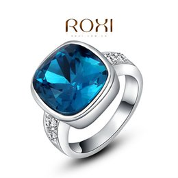 Wholesale Tension Set Couples Rings - FG ROXI Christmas Gift Classic Genuine Austrian Crystals Sample Sales Rose Gold Plated Spuare Blue Stone Ring Jewelry Party OFF