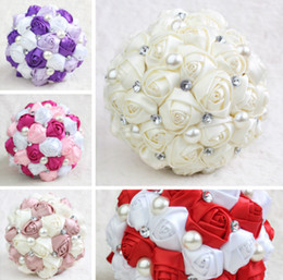 Wholesale Artificial Diamond Flowers - 2017 Hot Wedding Bouquet For Bride and Bridesmaid Pearls Handmade Artificial Bridal Bouquets Beads Diamond Satin Rose Flower 5 Colors Cheap