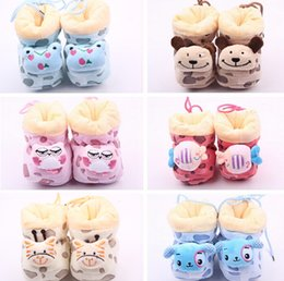 Wholesale Kids Shoes Animals Head - Free shipping!Multicolor animal head coral fleece toddler shoes,warm cartoon baby shoes, walker shoes,floor kids snow boots.12pairs 24pcs.ZH