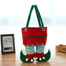 Wholesale Red Plastic Gift Bags - Christmas Elf Pants Candy Bags Christmas Decorations Red Wine Cover Fashion style Gifts Xmas Bag Hard flannel Nut bag Free Shipping