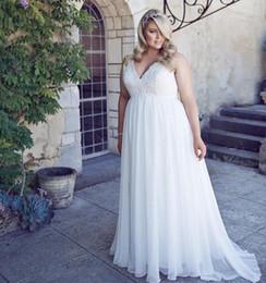 Wholesale romantic dresses - Romantic V-Neck Plus Size Lace Wedding Dresses Garden Cheap Chiffon 2018 Spring Train Large vestido de noiva Bridal Gown Ball For Bride
