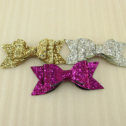 Wholesale Glitter Gift Wrap - SALE! 105*43*13mm sequins three colors glitter bows baby hair bows polyester ribbon DIY handmade materials, wedding gift wrap 60 PCS