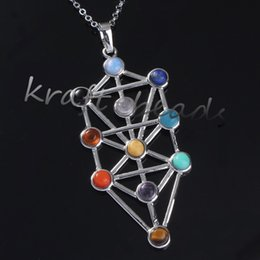 Wholesale Indian Bead Tree - Wholesale 10pcs Charm Silver Plated Mix Kabbalah Tree Of Life 7 Gemstone Beads Chakra Healing Point Stone Pendant Jewelry