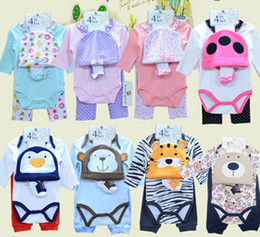 Wholesale Babys Boys - 2016 Infants Baby Bodysuits Rompers Boys Girls Long Sleeve Bodysuits+pant+Hat+socks 4pcs Set Cotton Babys Clothing 8colors #3866