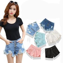 Wholesale High Waisted Short Jeans Women - High Waisted Denim Shorts Women New 2016 Fashion Summer Hole Tassel Ladies Hot Sexy Mini Short Jeans Feminino Black Blue White
