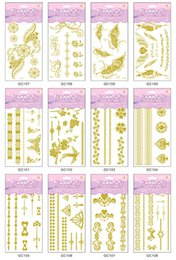 Wholesale Crown Tattoos Waist - 12Pcs Gold Bronzing Hot Silver Jewelry   Flower   Crown Metalic Tattoo Stickers Temporary Body Art 60 Designs