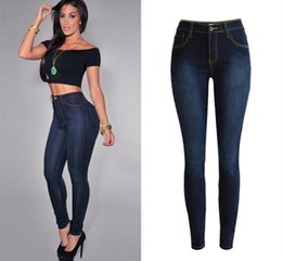 Wholesale Plus Size High Waisted Jeans - Women high waisted sculpt butt lifting skinny jeans plus size midnight bottoms up full length pencil jeans slim elastic jeans
